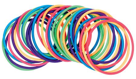 Multicolored plastic bracelets Stock Photo