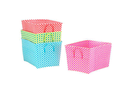 multicolored woven nylon baskets photo
