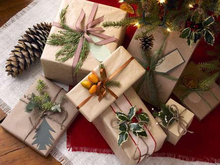 rustic decorations for winter holidays, gift boxes Stock Photo - 5884485