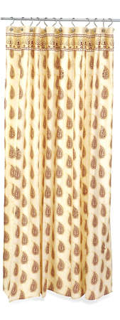 decor, brown print shower curtain Stock Photo