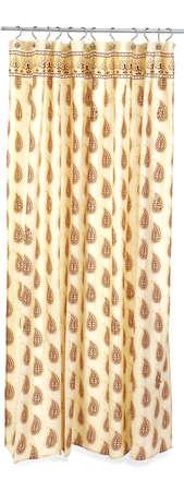 decor, brown print shower curtain Stock Photo