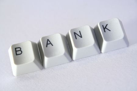 online shoppping: Computer keys and the word bank. Stock Photo