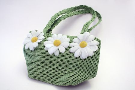 daisys: A green hand bag with daisy`s on it.