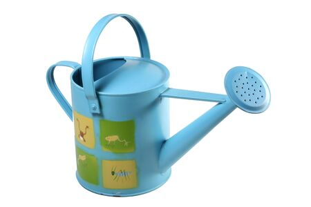 A blue watering can with frogs on it. Standard-Bild