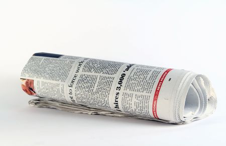 A rolled-up newspaper.