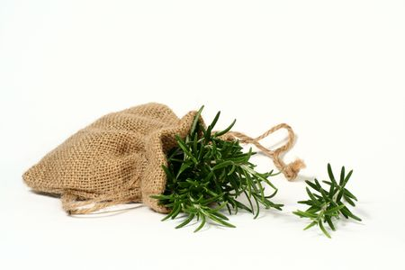 Rosemary in a small hessian bag.