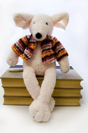 A cuddly pink rat sitting on three books.