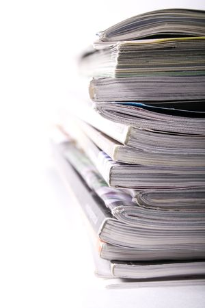 A stack of magazines to be recycled.