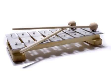 xylophone: A xylophone isolated on a white background.