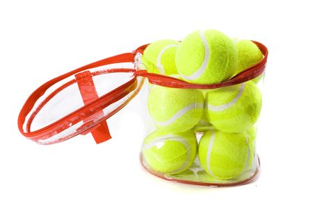 A bag of tennis balls on a white background.