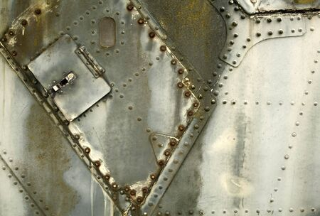 Part of an old war plane panel as a background. photo