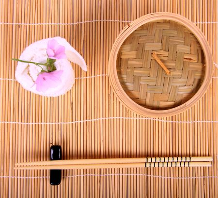 A place setting for an oriental lunch.  photo