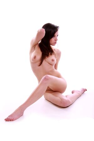 Colour image of a nude woman on a black background.  Stock Photo - 6280620