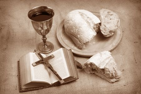 A still life depicting Holy Communion. photo