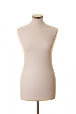 A dressmaking model dummy on a white background.