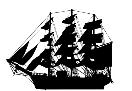 A  silhouette of an old clipper on a white background.  Standard-Bild