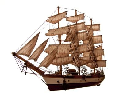 A model of an old clipper on a white background. Stock Photo