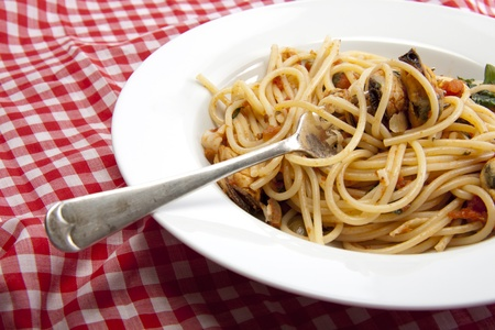 Freshly made spaghetti with a tomato and seafood souse that will taste fantastic on a summers day.  Stock Photo - 9660297