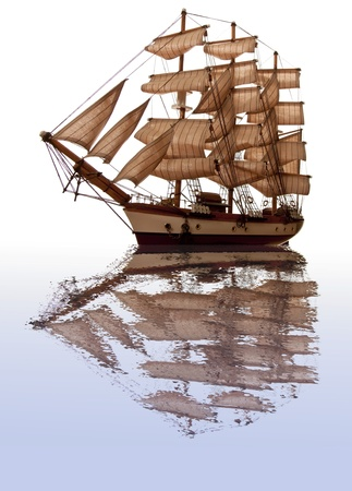 A model of an old clipper on a white background with a reflection in water.