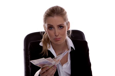 creditors: Young businesswoman feeling sad after loosing money to the creditors.  Stock Photo