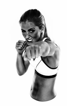 Black and white rendered image of an aggressive looking female bare fist fighter.