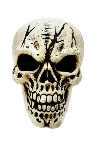 horror face: A creepy looking skull on a white background.  Stock Photo