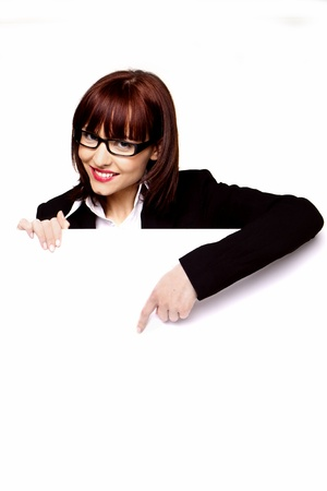 Businesswoman with blank white board with copy space for you text  photo