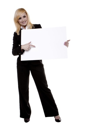 Businesswoman with blank white board with copy space for you text