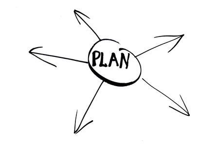 A symbol to illustrate a five point plan in black on a white background