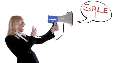 A woman shouting that there is a big sale on the go on a white background  photo