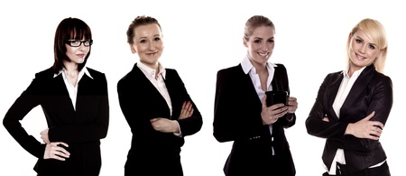 Business women  A team of four business women on a white background  photo
