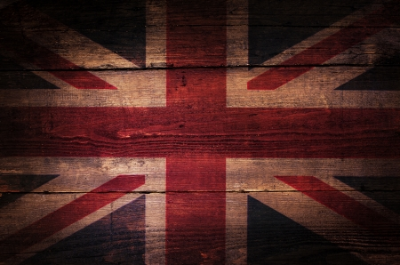 A abstract grunge British flag on oak boards. photo