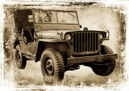 Vintage offroader  I retro style image of a Second World war American icon