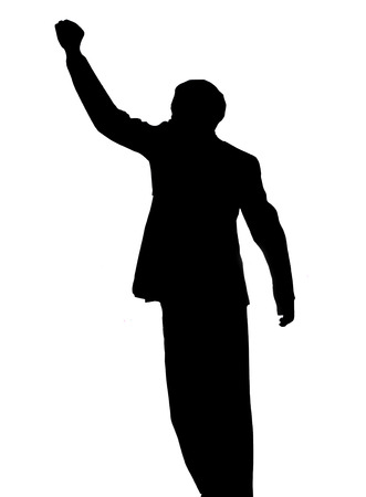 A silhouette image of Nelson Mandela