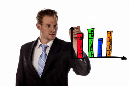 increased: Business man writing increased revenue graph with process of strategy  Stock Photo