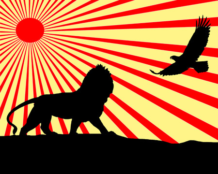 Illustration of the silhouettes of a lion and eagle with the sun in the background. illustration