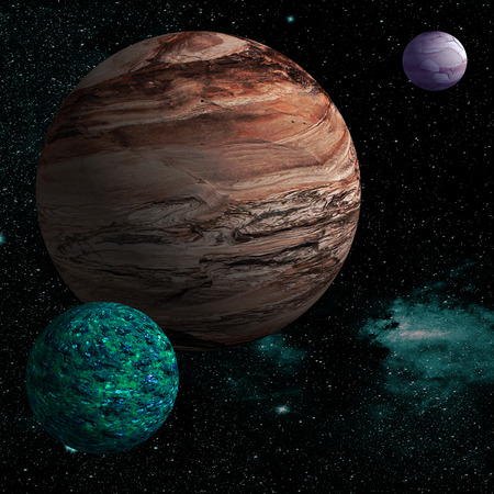 moons: Illustration of a alien planet surrounded by two strange moons.