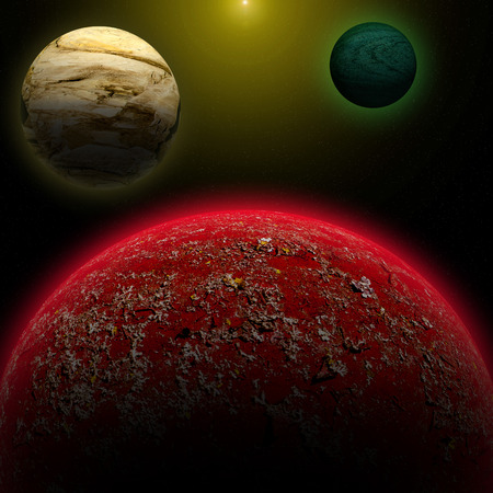 earthlike: Illustration of a alien planet surrounded by two strange moons.