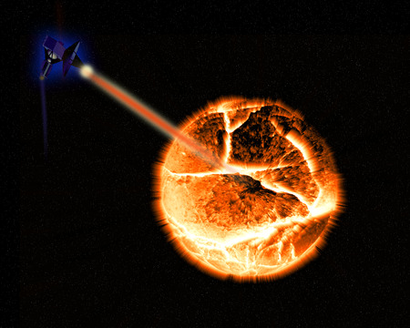Illustration of a exploding planet.