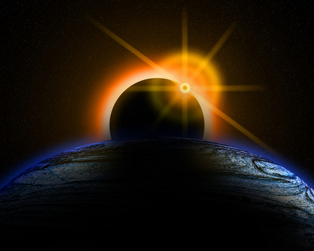 heaven and earth: Illustration of a eclipse over a alien sun and planet. Stock Photo
