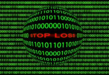 Abstract background image of digital computer language to enter stop loss for stock trading. photo