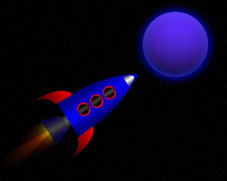 exploring: A cartoon rocket exploring a alien planet.
