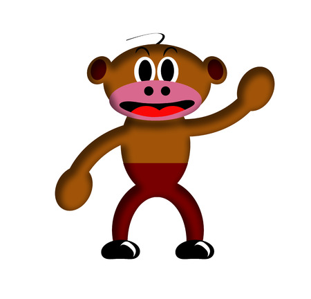 Illustration of Cartoon Monkey over a white background.