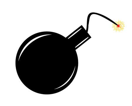 Black cartoon bomb isolated on white background.