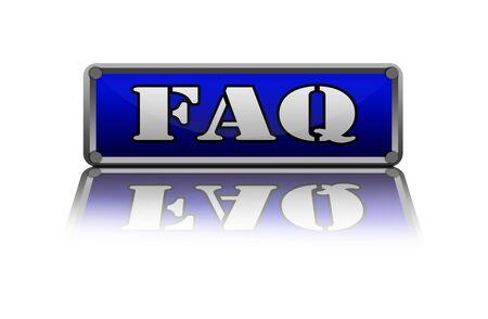 frequent: FAQ button illustration over white.