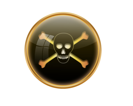 awfully: Skull and Crossbones button. Stock Photo