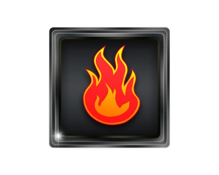 Flames fire button. photo
