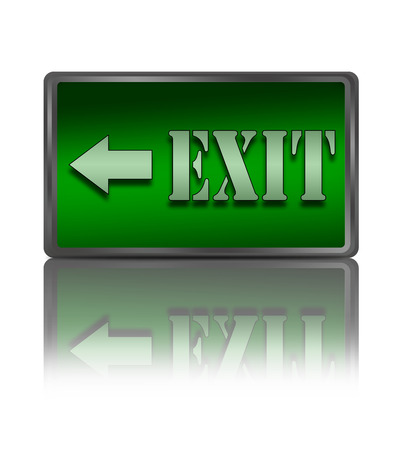 overcome: Exit sign. Stock Photo