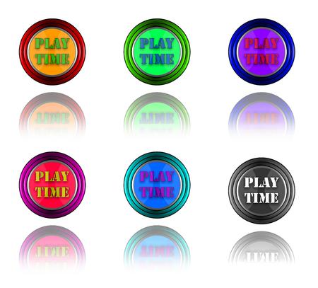 play time: Play time fun button. Stock Photo