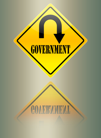 dictatorship: Government uturn warning sign. Stock Photo